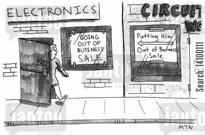 electronic cartoon humor: Electronics shop Going out of business sale.