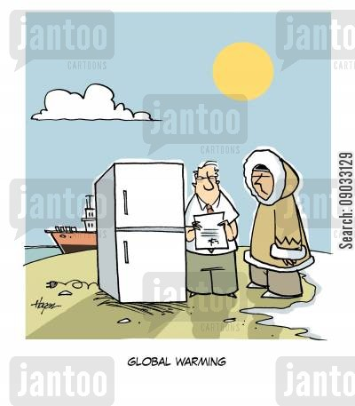 freeze cartoon humor: Global Warming.