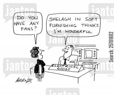 appreciated cartoon humor: Do you have any fans? Shelagh in soft furnishings thinks I'm wonderful.