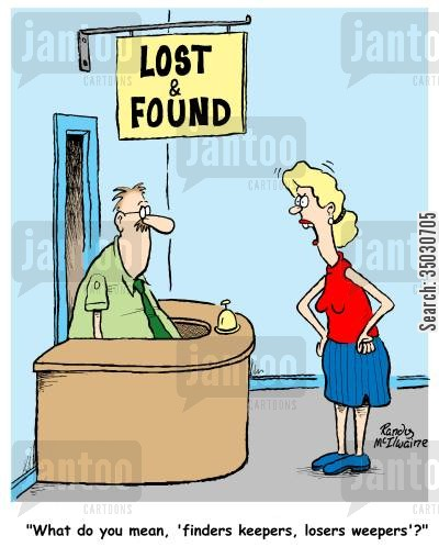 department stores cartoon humor: 'What do you mean, 'finders keepers, losers weepers'?'