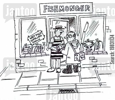 fishmongers cartoon humor: Fisherman buying fish on the way home...!