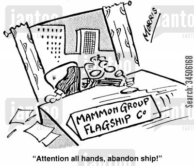 flagship stores cartoon humor: 'Attention all hands, abandon ship!' (flagship store)