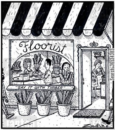 flower shop cartoon humor: Floorist: 'Say it with Timber'