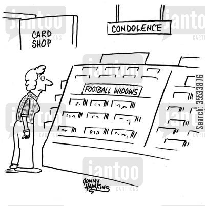 sympathy cards cartoon humor: Lady in card shop at 'Condolences' aisle sees category for 'Football Widows'