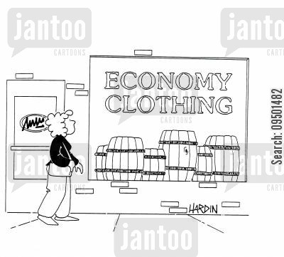 clothing shop cartoon humor: Economy clothing shop with barrels in the window