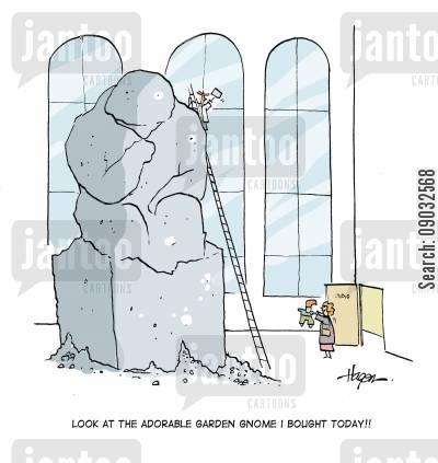 impulse buys cartoon humor: 'Look at the adorable garden gnome I bought today!!'