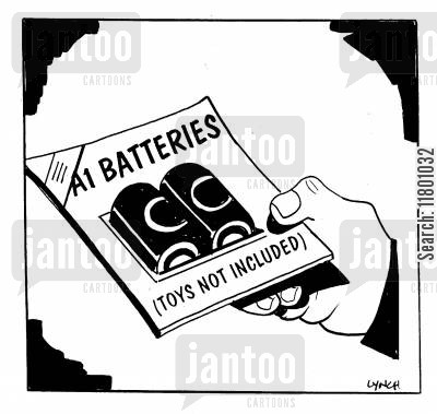 stating the obvious cartoon humor: A1 Batteries: Toys Not Included
