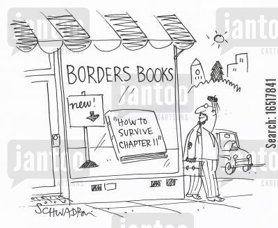 book sellers cartoon humor: 'How to survive chapter 11.'