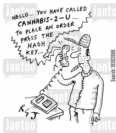 delivery services cartoon humor: Hello... you have called Cannabis-2-U...to play an order press the hash key...