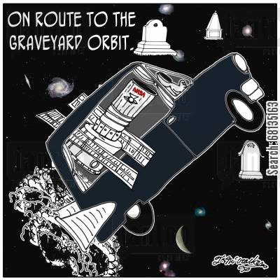 hubble telescope cartoon humor: On route to the graveyard orbit.