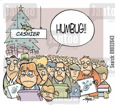 christmas shopper cartoon humor: 'HUMBUG!!'