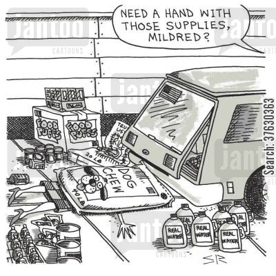 grocery shopping cartoon humor: Need a hand with those supplies, Mildred?