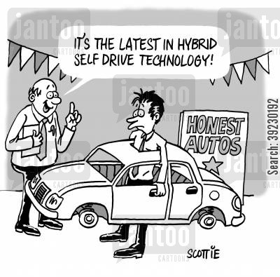 car sales cartoon humor: It's the latest in hybrid self-drive technology.