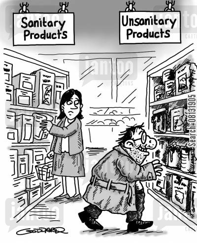 difference cartoon humor: Unsanitary Products