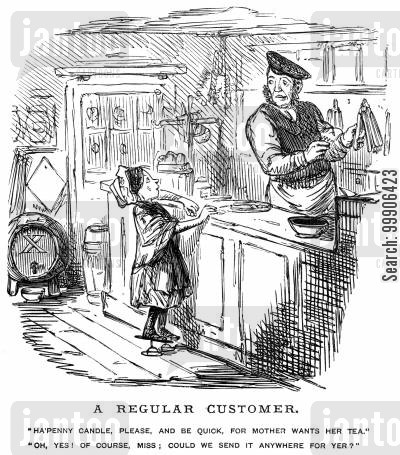shops cartoon humor: A shopkeeper dealing with an irritating customer.