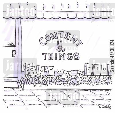 genres cartoon humor: Book store entitled: 'Content & Things'.