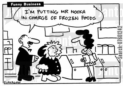 freezer cabinet cartoon humor: 'I'm putting Mr Nooka in charge of frozen foods.'