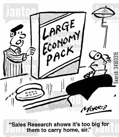 backfire cartoon humor: Sales Research shows it's too big for them to carry home, sir.