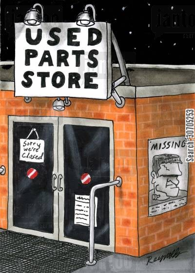 missing person poster cartoon humor: Used parts Store.