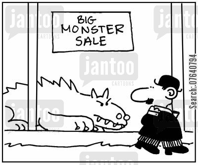 monster sale cartoon humor: 'Big monster sale.'