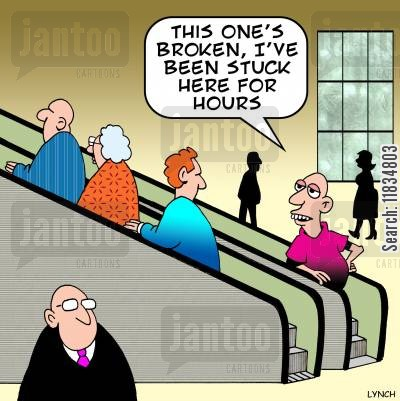 elevator cartoon humor: 'This one's broken, I've been stuck here for hours.'