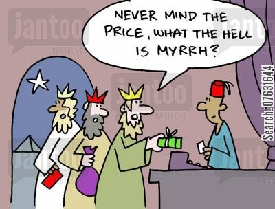 the nativity story cartoon humor: 'Never mind the price, what the hell is myrhh?'