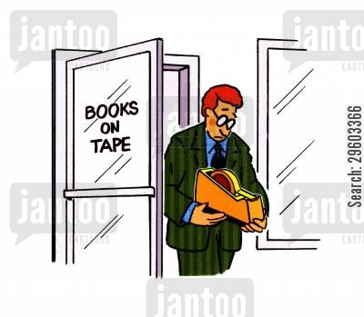 cassette tape cartoon humor: Books on tape.