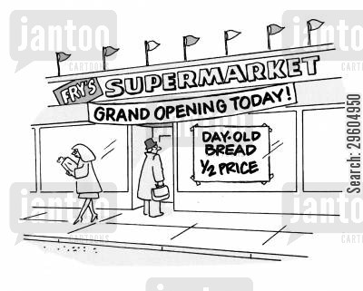 stale breads cartoon humor: Fry's Supermarket.