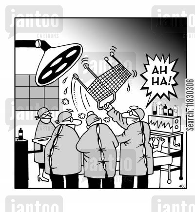 trolleys cartoon humor: Ah ha! Surgeons remove shopping trolley from patient.