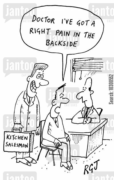 backside cartoon humor: Doctor I've got a right pain in the backside