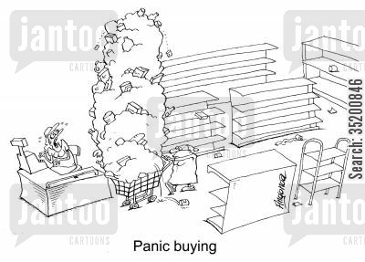 panic buys cartoon humor: 'Panic buying.'