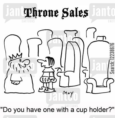 new furniture cartoon humor: 'Do you have one with a cup holder?'