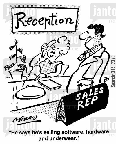 reception cartoon humor: He says he's selling software, hardware, and underwear.