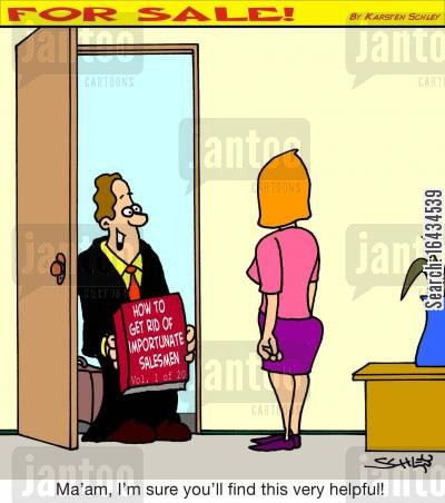 door to door salesman cartoon humor: 'Ma'am, I'm sure you'll find this very helpful!' (Salesman presents a book titled `How to get rid of importunate salesmen`