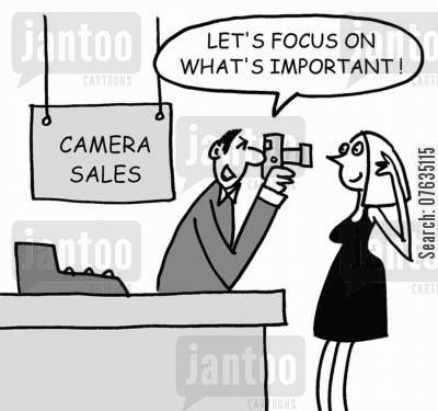 selling products cartoon humor: Let's focus on what's important!