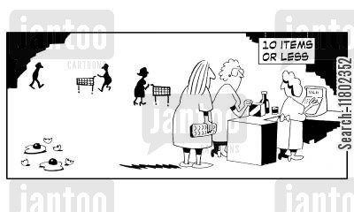 item cartoon humor: 10 items or less queue. (Woman has thrown eggs onto floor).