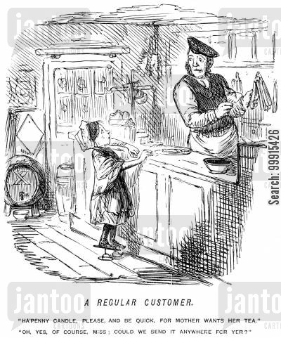 shopkeepers cartoon humor: Girl buying candles