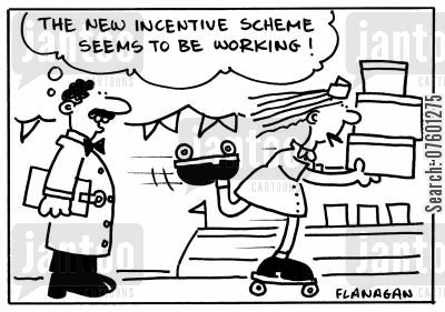 shop workers cartoon humor: 'The new incentive scheme seems to be working!'