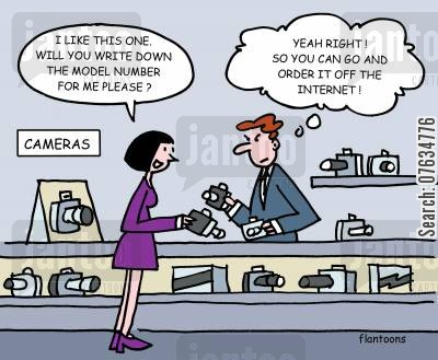 the high street cartoon humor: Shopping Online.