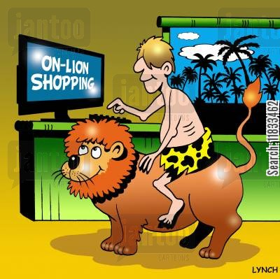 buy online cartoon humor: On lion shopping.