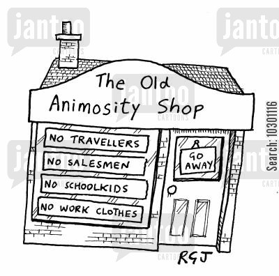 snobbery cartoon humor: The Old Animosity Shop