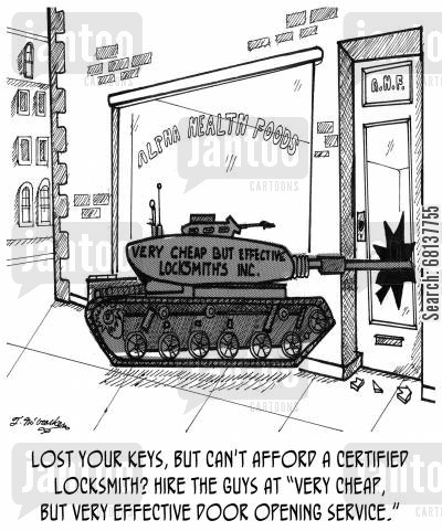 marines cartoon humor: Lost your keys, but can't afford a certified locksmith? Hire they guys at Very Cheap, but Very Effective Door Opening Service.