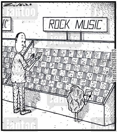 browsing cartoon humor: A Rock has turned up to a Music store to find some Rock music