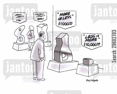 discounting cartoon humor: Less is more.