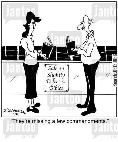 stock sale cartoon humor: They're missing a few commandments.