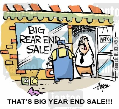 sign painter cartoon humor: 'THAT'S BIG YEAR END SALE!!!'