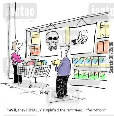 super marketks cartoon humor: 'Well, they finally simplified the nutritional information!'
