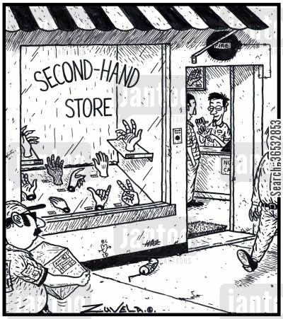charity shop cartoon humor: Second-Hand Store a store that has second-hand human hands for sale.