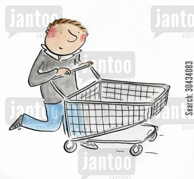 paypal cartoon humor: Shopping Trolley