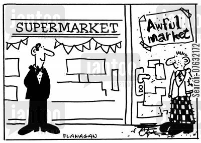 corner shops cartoon humor: SupermarketAwful Market.